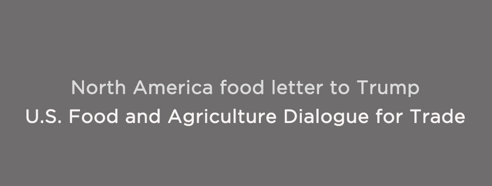North America Food letter to President Trump